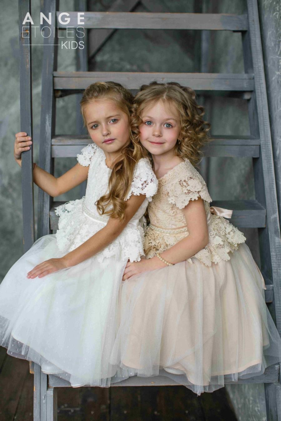 Wedding - MICHEL little bridesmaid, girls dresses, toddler dress, flower girl, tutu dress, blush tutu dress