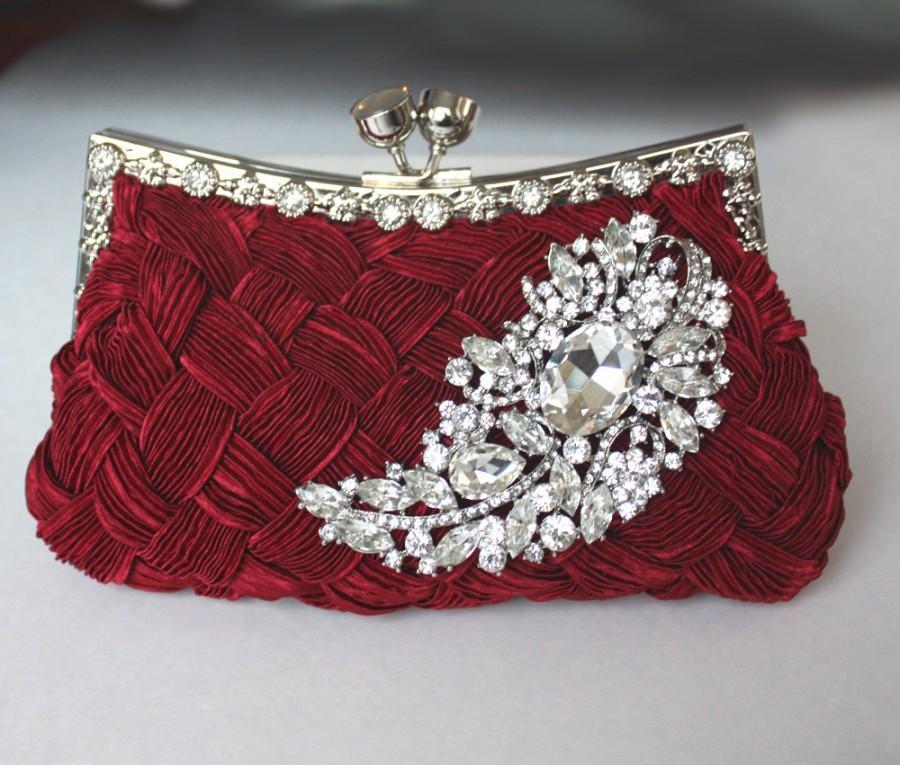 Hochzeit - Burgundy Bridal Clutch - satin purse w/  Swarovski big Crystal feather brooch