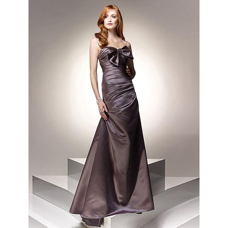 Wedding - Column Sweetheart Bowknot Sleeveless Floor-length Satin Prom Dresses Evening Dresses In Canada Prom Dress Prices - dressosity.com