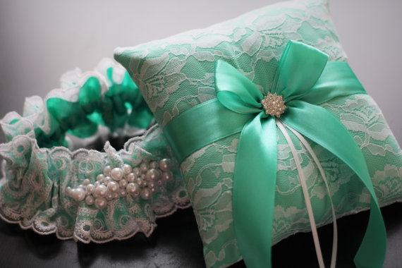 Wedding - Mint Ring Bearer Pillow  Mint Bridal Garter Set  Mint Wedding Garter  Mint Wedding Pillow  Mint Lace Garter Pillow Set, Mint Garter Belt