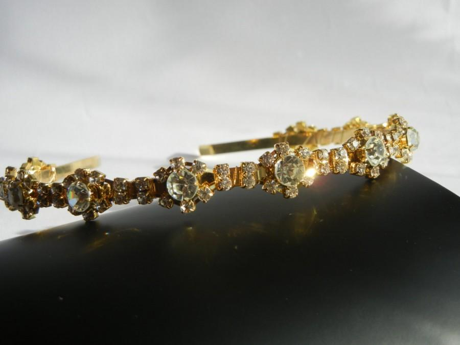 Hochzeit - Rhinestone Headband, Wedding Headband, Gold Headband, Gold Hairpiece, Diamante Headband, Bridal Headband.