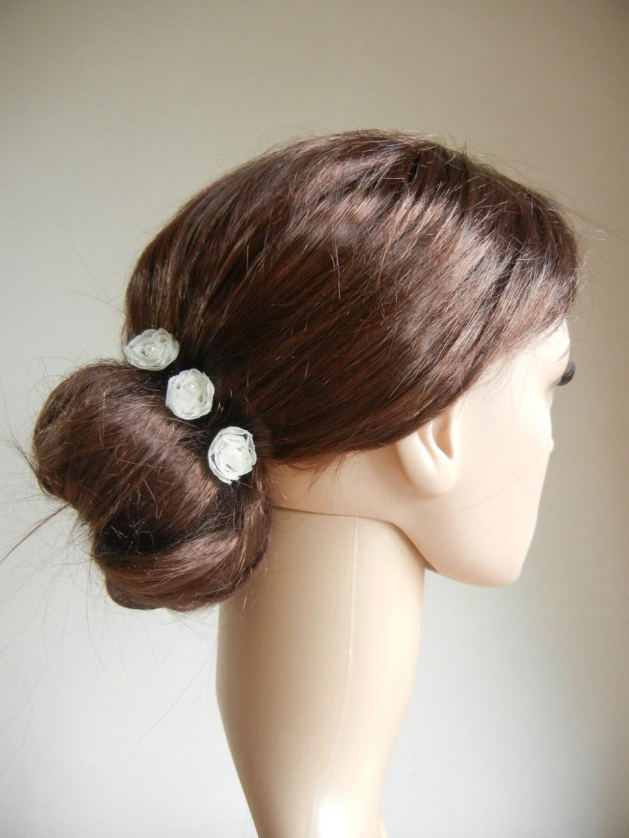 Hochzeit - Flower Hair Pins, Pearl Hair Pins, Bridal Hair Pins, Chiffon Hair Pins, Hair Accessory, Ivory Hair Pins, Cream Hair Pins.