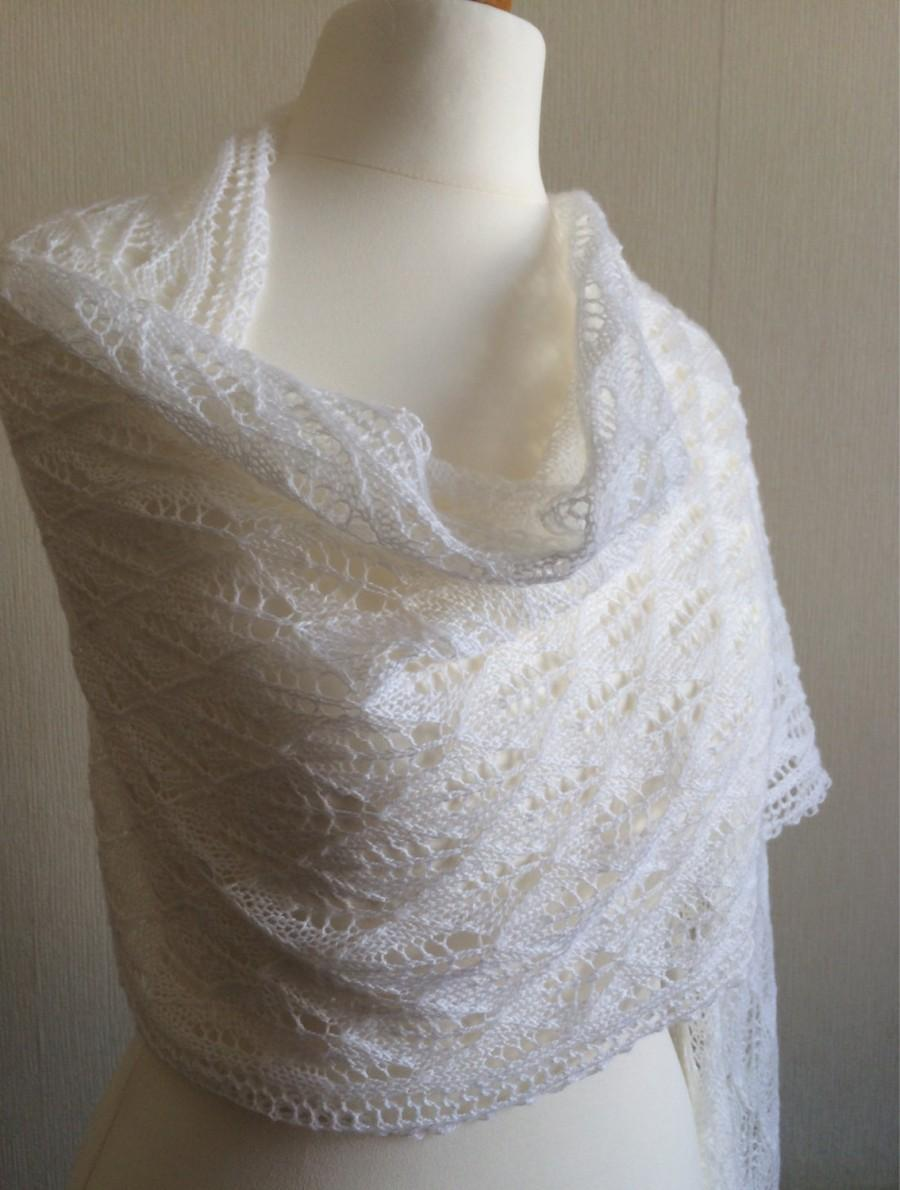 Hochzeit - Hand Knitted Lace Wedding Shawl, Wrap, Stole in White Merino Yarn Made to Order