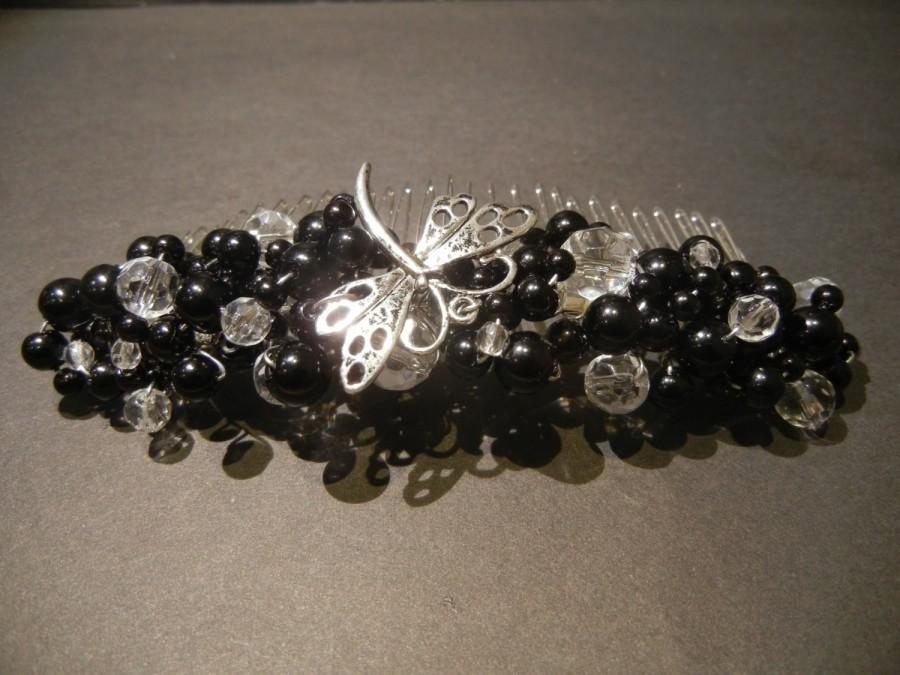Mariage - Large Bridal Hair Comb. Black Glass Pearls & Faceted Crystals featuring a Dragonfly. Bridal Headpiece. Prom Night.