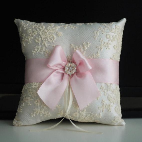 Mariage - Pink Wedding Pillow   Pink Wedding basket  Blush Flower Girl Basket & Pink Ring bearer Pillow  Lace Wedding Pillow Basket Set