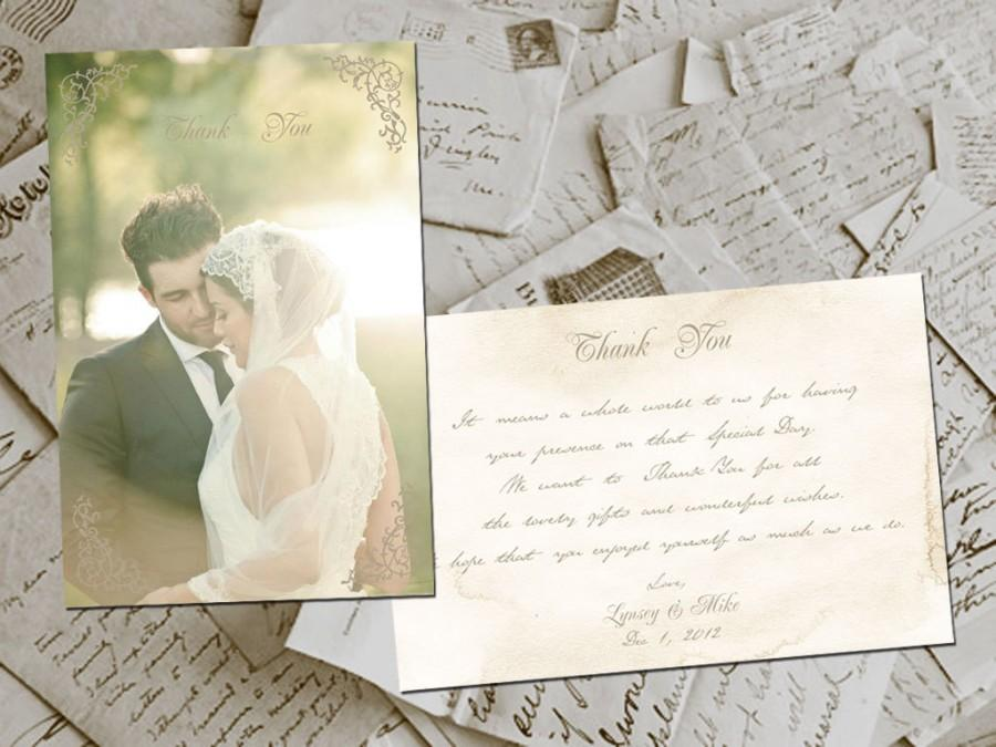 "زفاف - Wedding Thank You Cards - BelleVille Vintage Photo Personalized 4""x6"""