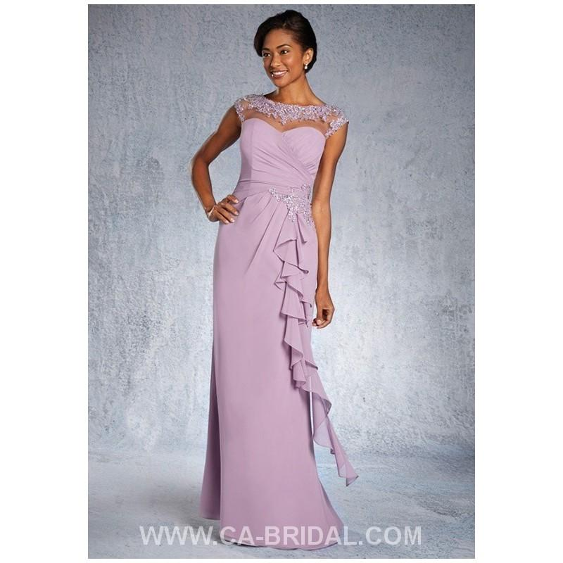 Wedding - Elegant Sheath/Column Bateau Sleeveless Beaded and Applique Floor-length Chiffon Mother of Bride Dress - dressosity.com
