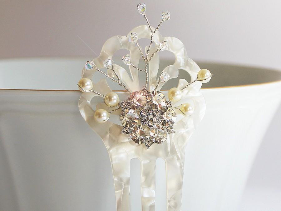 Wedding - Mother of Pearl Swarovski Bridal Hair Comb, Art Deco Hair Comb, Art Nouveau, Vintage Bridal Hair Accessory, Back Hair Bride, Winter Wedding