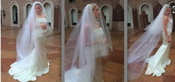 Mariage - 3-Tier Cathedral Veil & detachable 2-Tier Fingertip Veil w/ Blusher, Traditional Veil - Renee