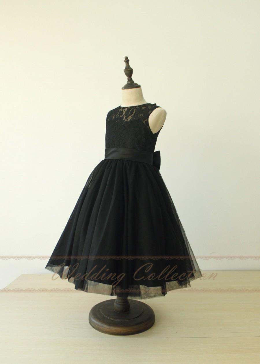 Mariage - Black Flower Girl Dresses First Communion Dresses Lace Tulle Beautiful Dresses for Grils