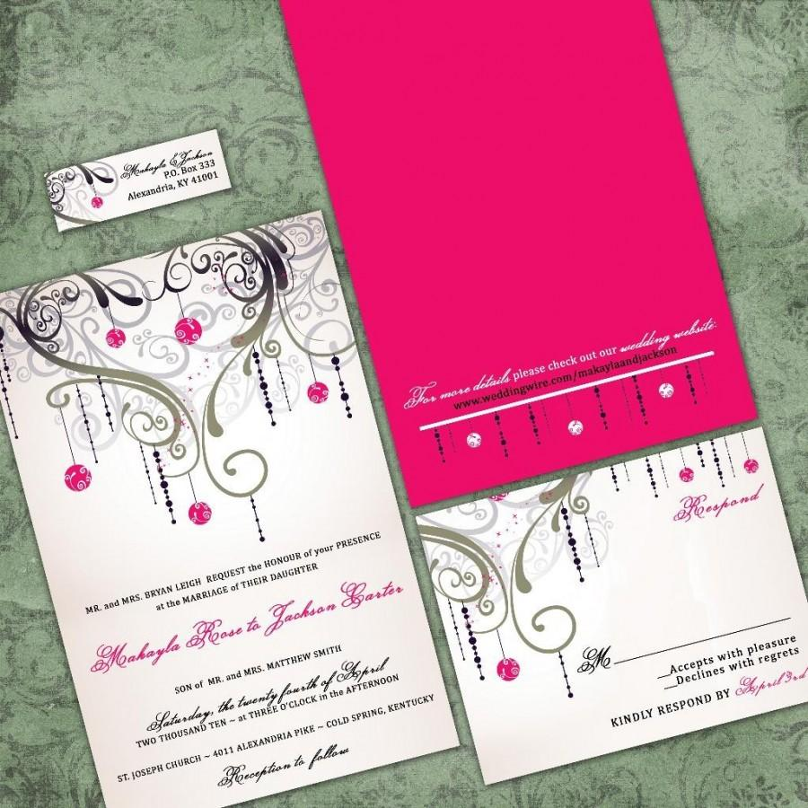 Mariage - Custom Wedding Invitations - Romantic Set - An Evening in Paris Wedding Invitation Suite with RSVP cards and address labels