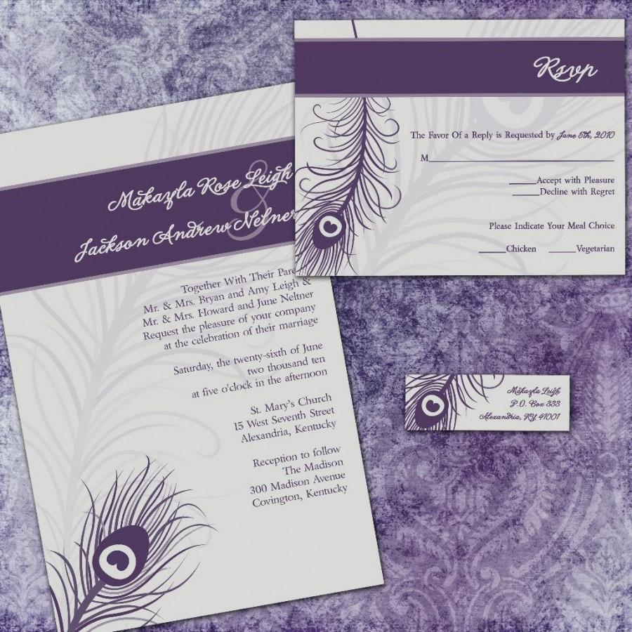 Mariage - Custom Wedding Invitation Suite - Purple Peacock - with RSVP cards and address labels - Peacock Wedding