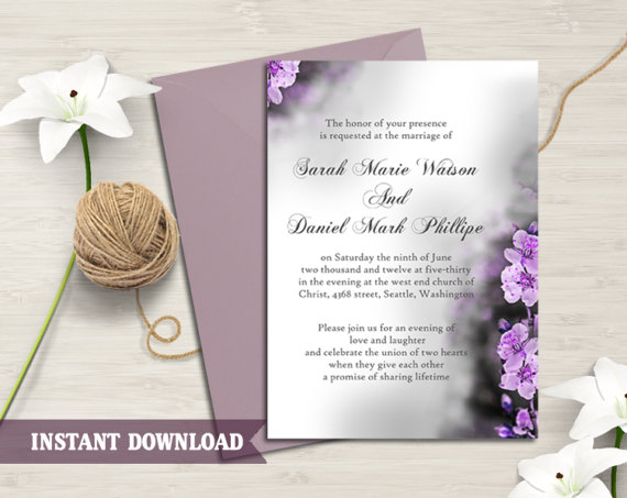 Свадьба - Wedding Invitation Template Download Printable Wedding Invitation Floral Boho Wedding Invitation Elegant Purple Invitation Flower Invite DIY