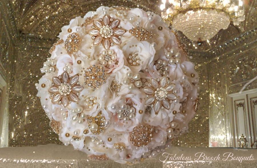 Mariage - Blush & Ivory Brooch Bouquet, Rose Gold Bouquet, Blush Pink Ivory Brooch Bouquet, Deposit Only, Full Price 400.00-550.00