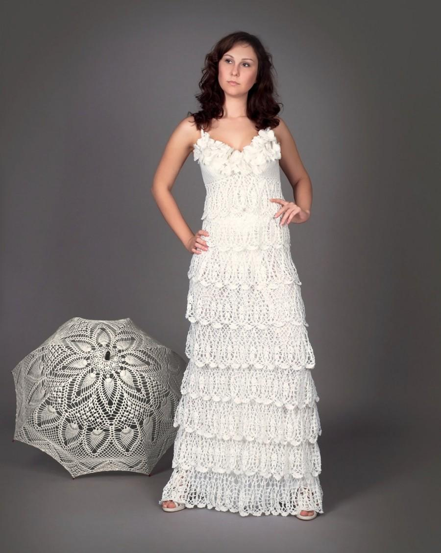 Düğün - Exclusive crochet wedding dress with ruffles - the finished product in a single original