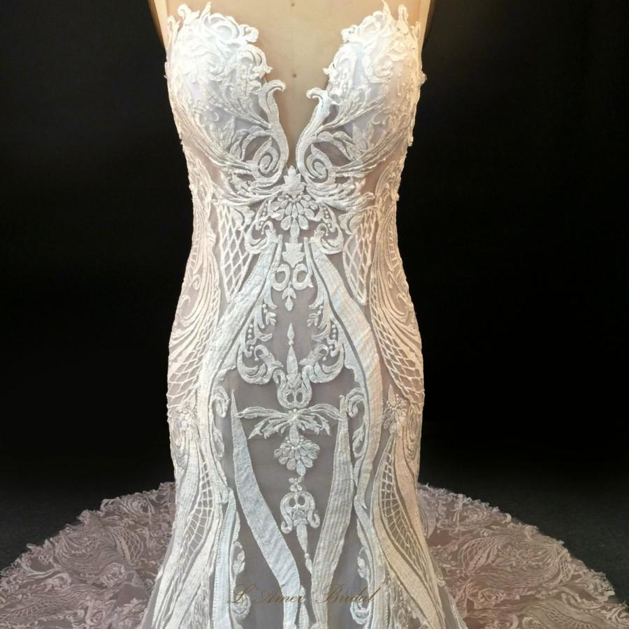 Mariage - High Quality Handmade Embroidered French Lace Wedding Dress Bridal Gown with Sheer Back and Deep V neck- LAmei 2017