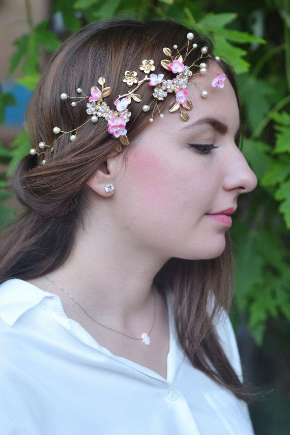 Wedding - Bridal hair vine Pearl floral crown Gold pink bridal headpiece Wedding hair accessories Pearl rhinestones vine Wedding flower crown