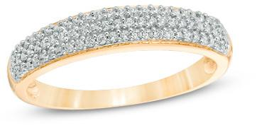 Свадьба - 1/5 CT. T.W. Diamond Wedding Band in Sterling Silver with Yellow Rhodium