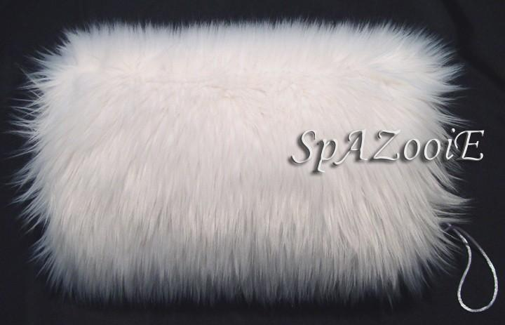Mariage - White faux fur bridal hand muff wedding hand warmer feathery faux fur