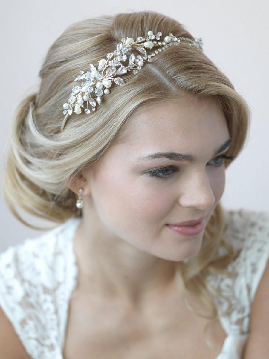 Mariage - Pearl & Crystal Gold Headband, Rhinestone Wedding Headband, Pearl Wedding Headpiece, Gold Wedding Tiara, Gold Bridal Headband ~TI-3268-G