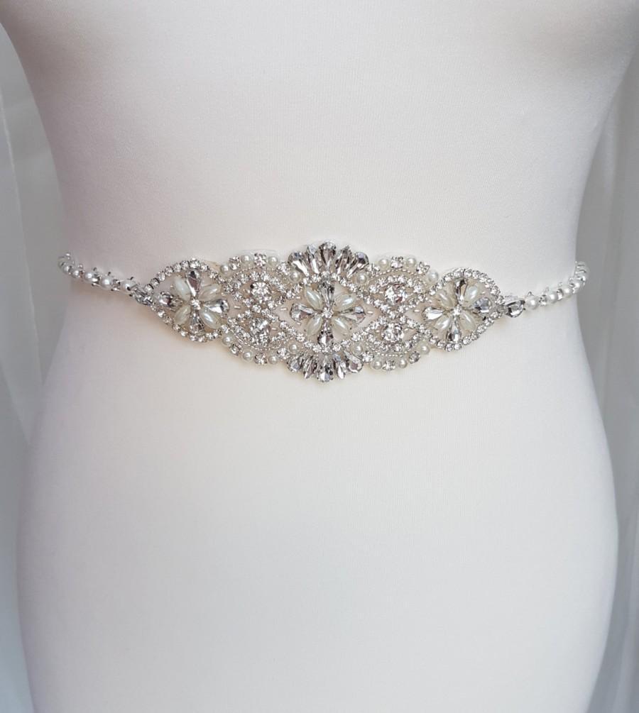 Thin bridal belt pearl belt thin pearl belt wedding for Pearl belt for wedding dress