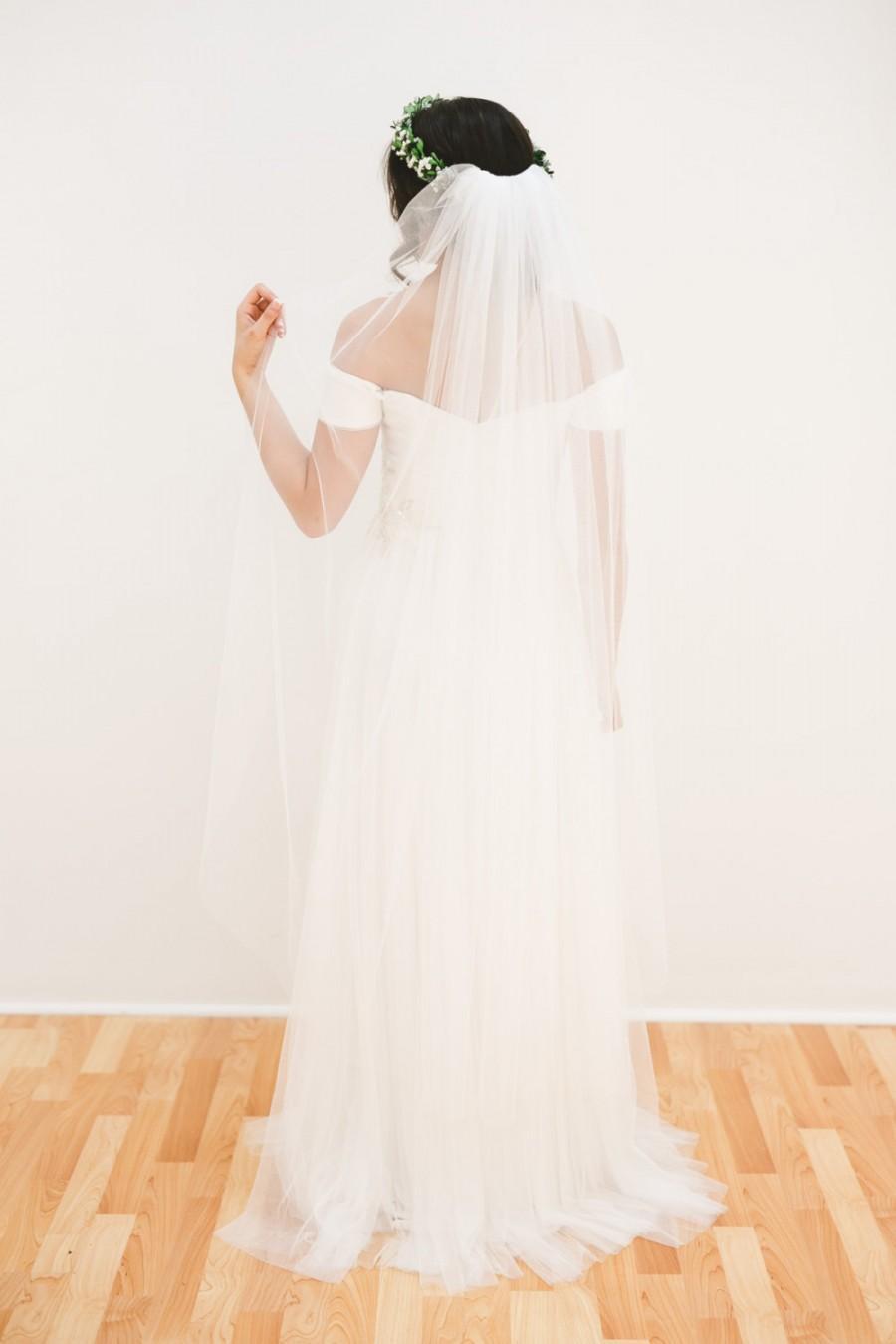 Wedding - wedding veil, english net veil, bridal veil, bohemian veil, long veil, chapel veil, cathedral veil, waltz veil, fingertip veil - ANNABELLE