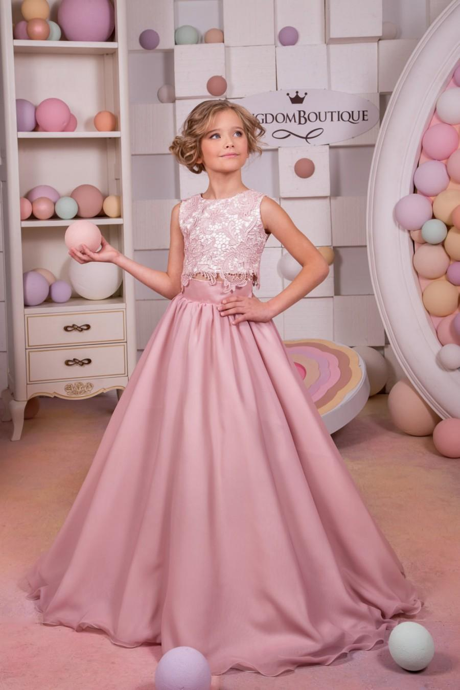 Blush Pink Lace Satin Flower Girl Dress Wedding Party Holiday