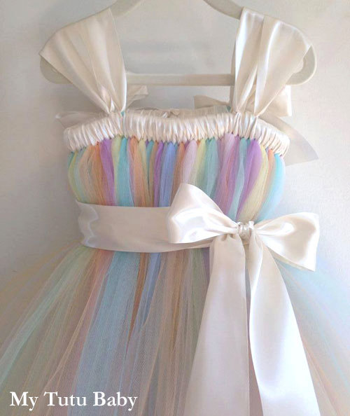 Mariage - Pastel Rainbow Tutu Dress Birthday, Flower Girl Wedding, Photos, Girls, Baby, Toddler