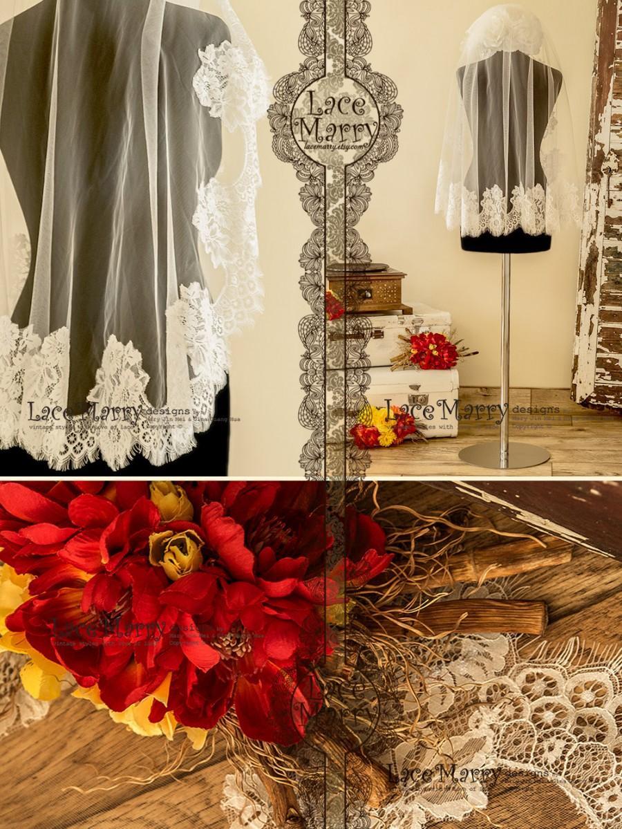 Mariage - Murka Wedding Veil, Wedding Veils, Fingertip Veils, Chantilly Lace Veils, Elbow Length Veils, Mantilla Veils, Bridal Veils, Lace Veils