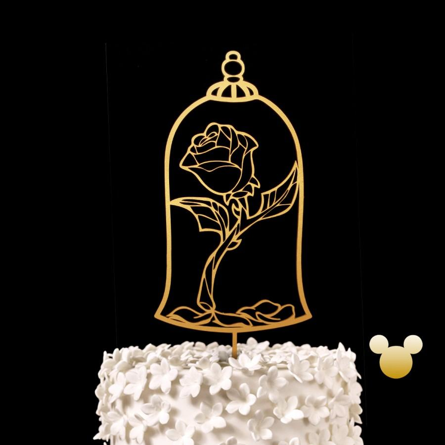Düğün - Enchanted Rose Wedding Cake Topper - Beauty and the Beast Keepsake Wedding Cake Toppers, Disney Wedding Cake Topper