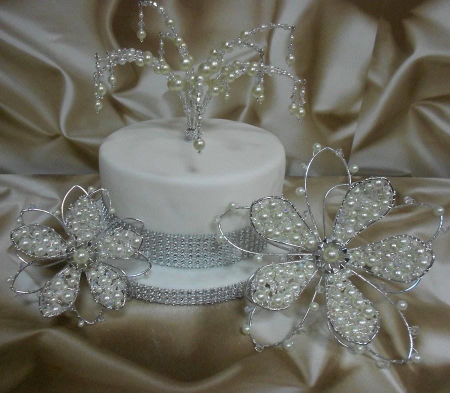 Свадьба - Wedding Cake Toppers UK -  Crystals & Pearls - Set of 3 decorations- Handcrafted to order