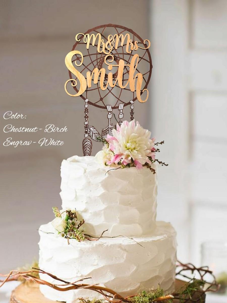 Mariage - Boho Cake Topper. Boho wedding cake topper. Mr and Mrs Custom Surname Cake Topper. Personalized Surname Boho Cake Topper. 3D Boho Topper.