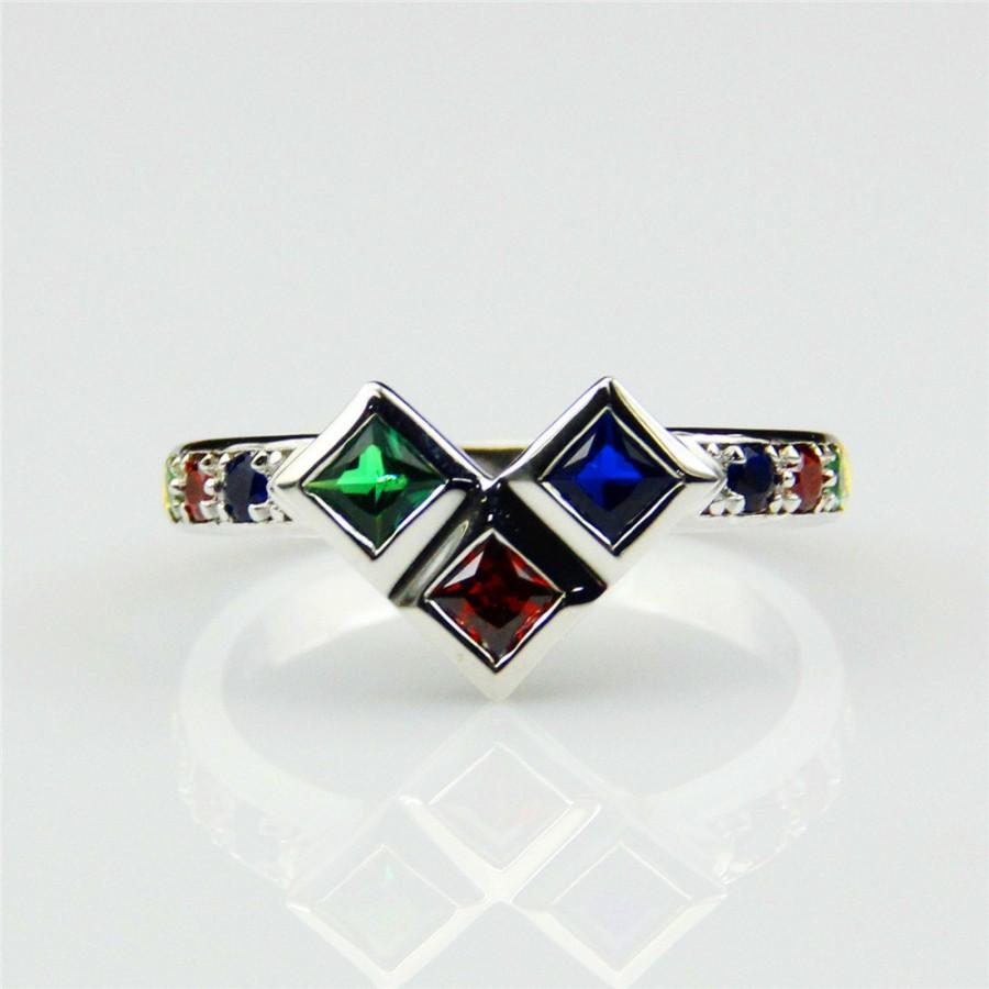 Joker Harley Quinn Ruby Blue Sapphire Emerald 925 Sterling Silver
