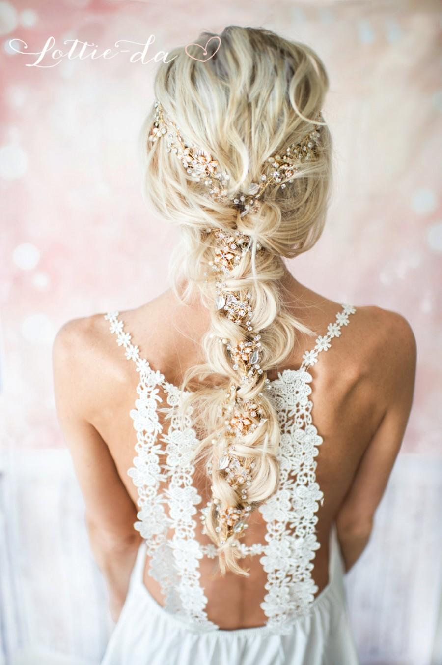 Mariage - Extra Long Gold Hair Vine Wedding Headpiece, Bridal Hair Crown, Hair Wreath, Wedding Hair Vine, Boho Headpiece - 'VIOLETTA EXTRA LONG'