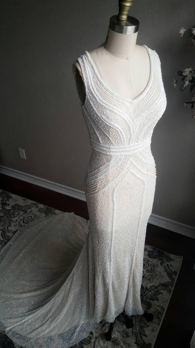 Mariage - Art Deco Gatsby Inspired Full Beaded Wedding Dress Custom Couture unique wedding dress, sleeveless, fitted, fit and flare, long train