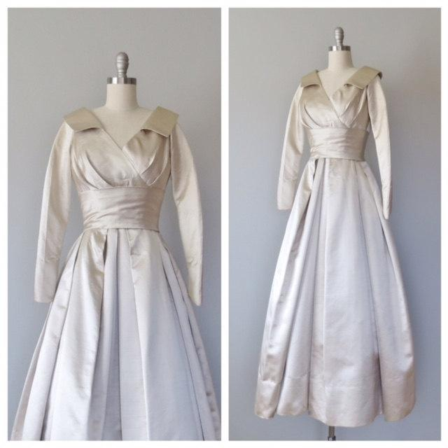 Свадьба - 50s wedding gown size xs / 50s silk wedding dress / doupioni silk dress