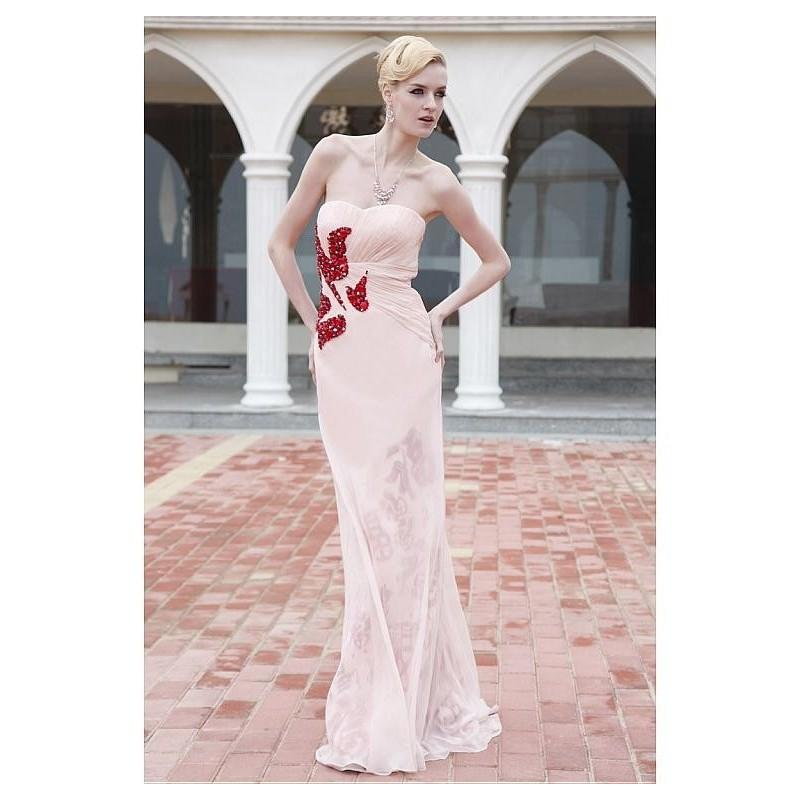 Mariage - In Stock Elegant Sheath Strapless Sweetheart Floor-length Prom Dress 80866 - overpinks.com