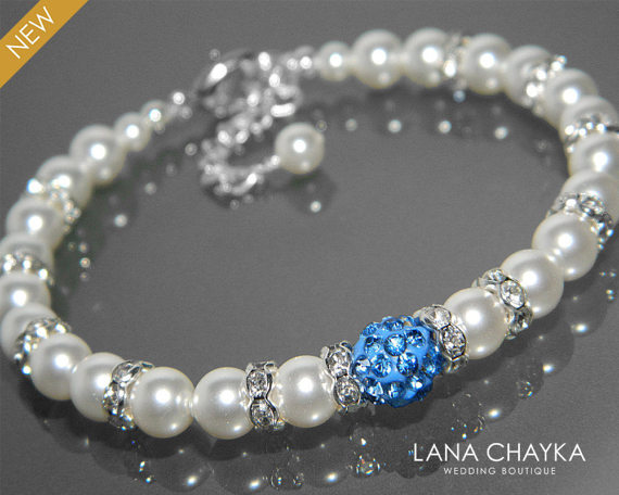 Mariage - White Pearl Blue Crystal Bridal Bracelet Swarovski White Pearl Wedding Bracelet White Light Blue Bridal Bracelet Wedding White Pearl Jewelry