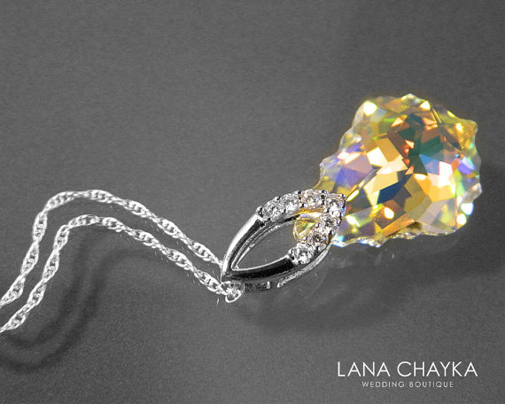 Wedding - Aurora Borealis Baroque Crystal Necklace Swarovski Crystal Pendant Sparkly Crystal Sterling Silver Cz Bridal Necklace Wedding Jewelry