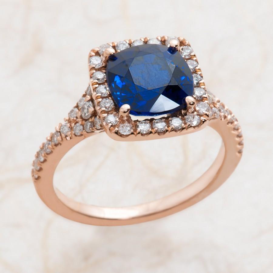 زفاف - Blue Sapphire Engagement Ring - Rose Gold Engagement Ring - 14k Rose Gold Engagement Ring The Center Is 8x8 Lab Grown Cushion