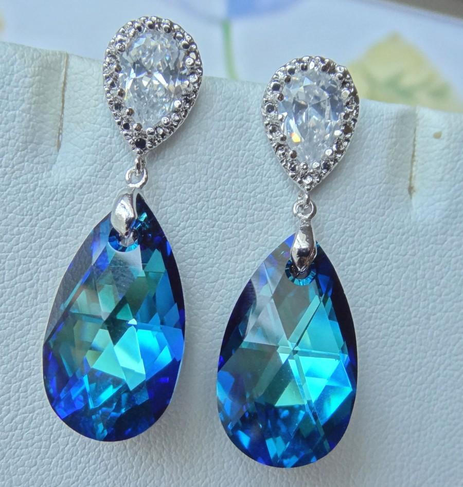 Wedding - Swarovski Crystals Bermuda Blue Peacock with Cubic Ziconia Post Sterling Silver Earrings, Bridesmaids Bride Bridal Earrings- Free Shipping
