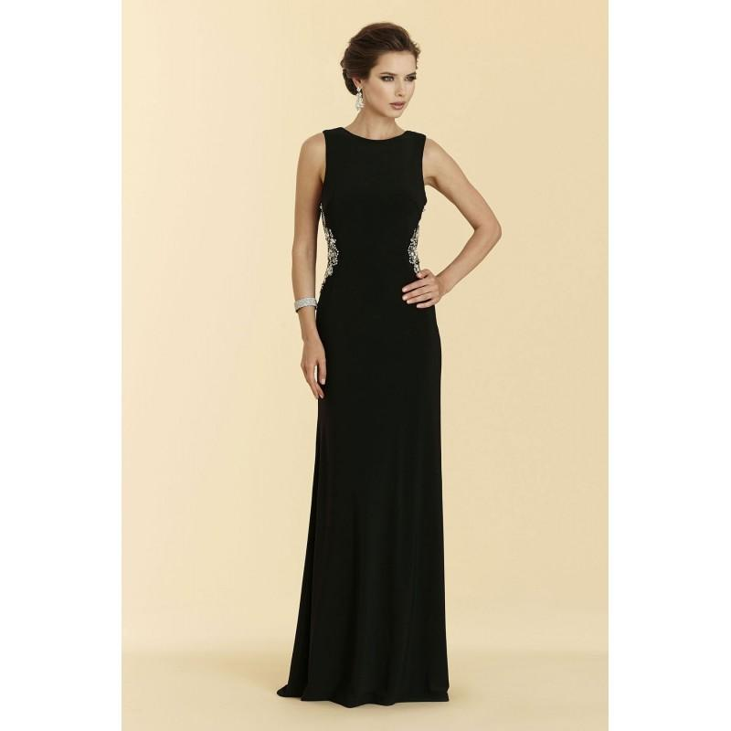 Свадьба - Sheath-Column Bateau Sweep-Brush Train Jersey Black Sleeveless Side Zipper Mother Of The Bride Dress Crystals - Top Designer Wedding Online-Shop