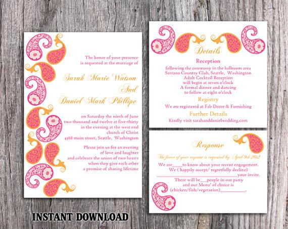 Hochzeit - Bollywood Wedding Invitation Template Download Printable Invitations Editable Orange Pink Wedding Invitation Indian invitation Paisley DIY