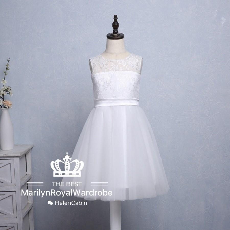 Mariage - Ivory Lace Flower Girl Dress Soft Tulle Junior Bridesmaid Wedding Party Dress With Sash Knee Length