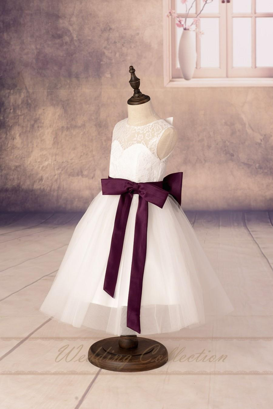 Mariage - Flower Girls Dresses,Flower Girl Dress with Burgundy Sash and Bow