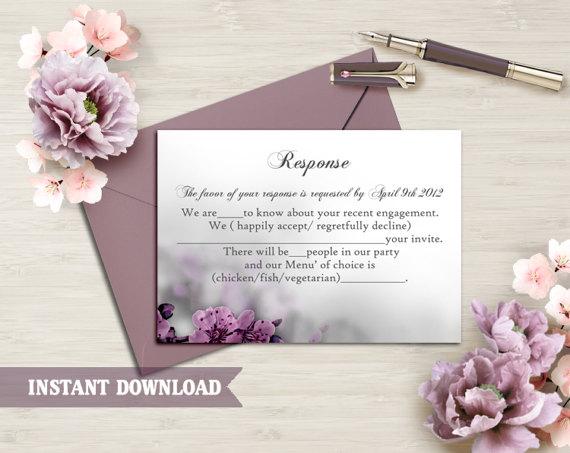 Wedding - DIY Wedding RSVP Template Editable Word File Instant Download Rsvp Template Printable RSVP Cards Eggplant Rsvp Card Flower Rsvp Template