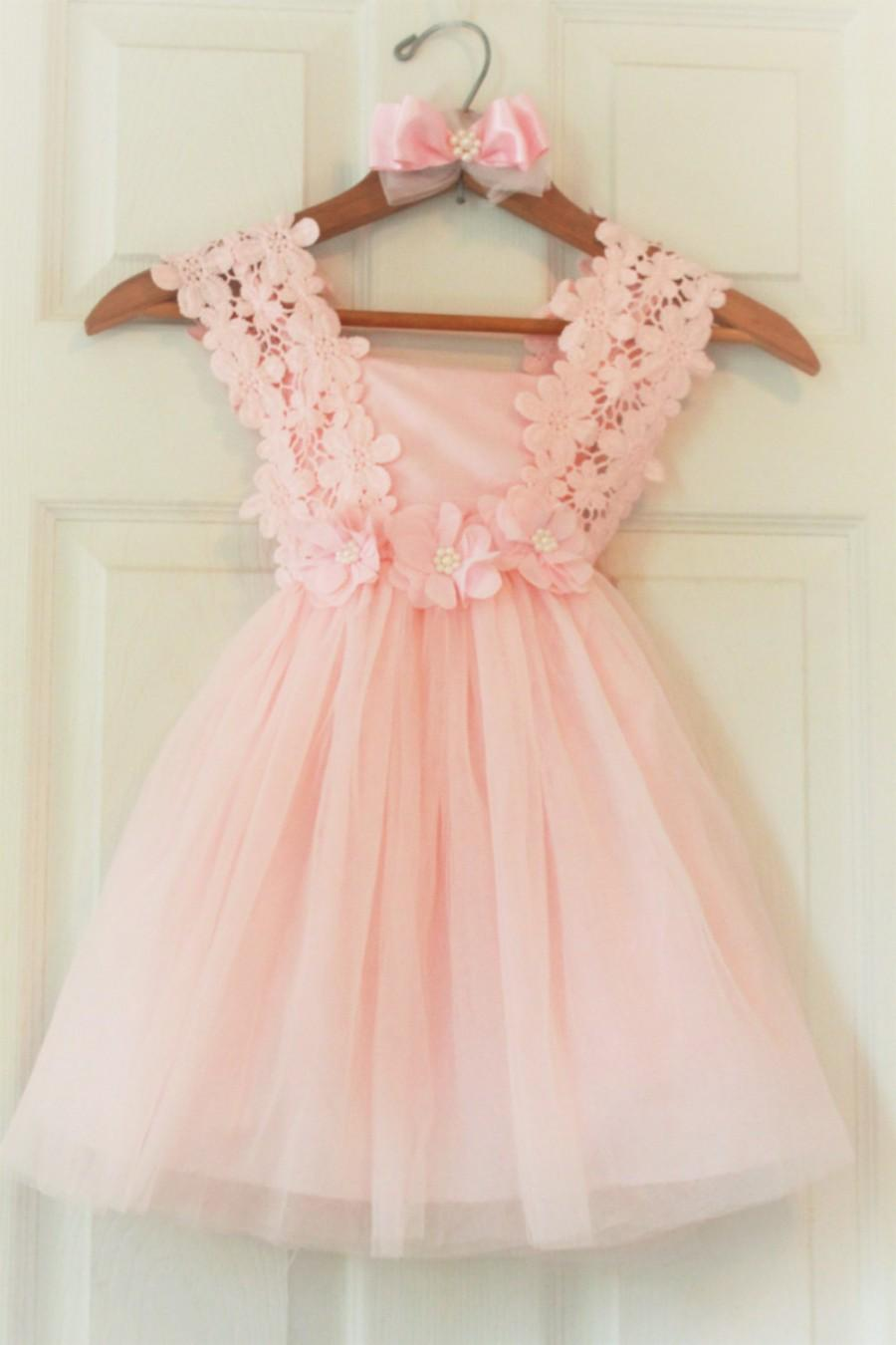 3d4e1e741bf0 Flower Girl Dress- Flower Girl Dress- Light Pink Birthday Girl Dress-  Peagent Pink Dress Toddler- Girls Lace Dresses