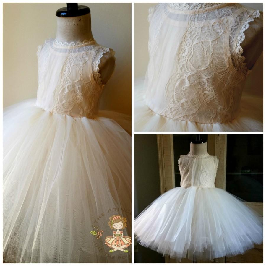 Wedding - flower girl dress, flower girl dresses, ivory flower girl dress, cream flower girl dress, lace girls dress, rustic wedding, tulle dress