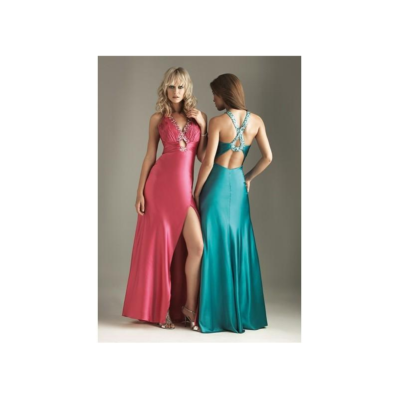 Mariage - Alluring Low Back Left Slit Beads Working Straps Elegant Floor Length Evening Dress In Canada Evening Dress Prices - dressosity.com