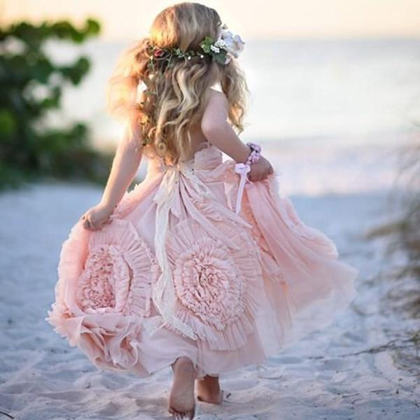 Wedding - Cute Spaghetti Straps Flower girl Dresses with Flowers